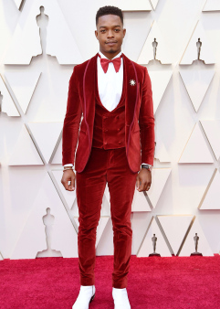 """Stephan James - The """"If Beale Street Could Talk"""" star looks quite dapper in an all-velvet suit."""