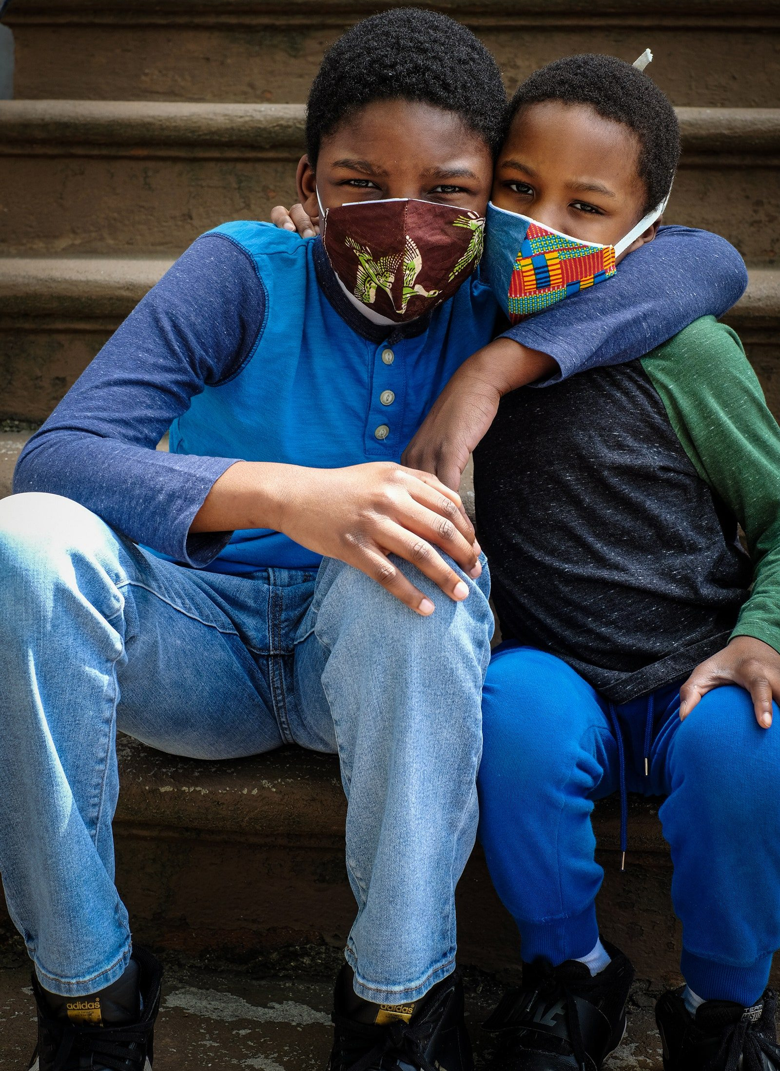 pTanika Williams and her daughter Svaha Williams pose for a portrait in Flatbush Brooklyn. Their masks are made by...